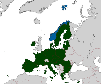 Map of the European Union and Norway.