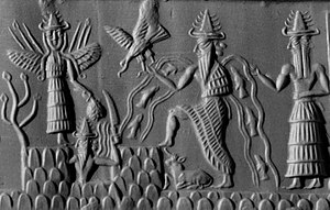Shamash - Detail of a cylinder seal from Sippar (2300 BC) depicting Shamash with rays rising from his shoulders and holding a saw-toothed knife with which he cuts his way through the mountains of the east at dawn (British Museum)