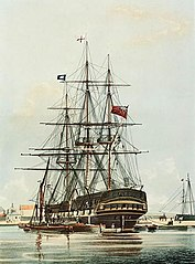 The East Indiaman Repulse (1820) in the East India Dock Basin.