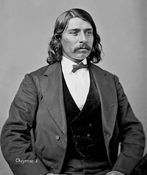 Colorado War - Portrait of Edmond Guerrier. Guerrier was the son of Frenchman William Guerrier and Walks In Sight, a Cheyenne. Guerrier provided testimony to Congressional investigators at Fort Riley, Kansas in 1865 concerning the Sand Creek Massacre.