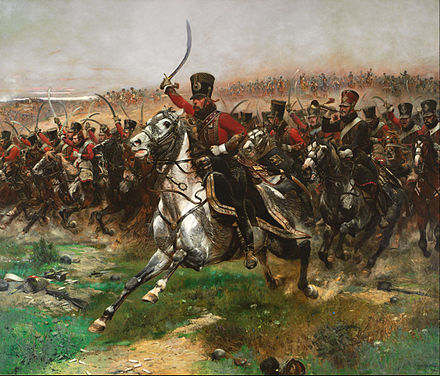 Hussars were a light type of cavalry between the 15th and 19th century. Here, French hussars during the Napoleonic Wars. Edouard Detaille - Vive L'Empereur - Google Art Project.jpg
