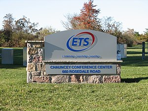 Educational Testing Service - ETS' welcome sign, as seen from Rosedale Road in Lawrence Township