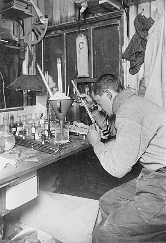 Edward Nelson (marine biologist) - Nelson testing thermometers during the Terra Nova Expedition in 1911