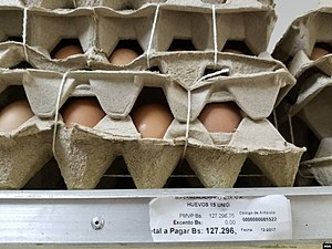 Egg carton prices in Venezuela supermarket.jpg