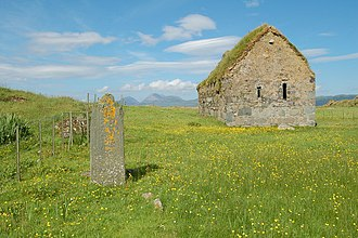 Abbán - Chapel of St Cormac, Christian chapel at Eilean Mòr, Jura, in the MacCormaig Isles (Scotland). Like the church of Keills (Kilvickocharmick) on Scottish mainland, it may be associated with Abbán.
