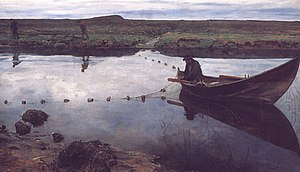 Gillnetting - Oil painting of gillnetting, The salmon fisher by Eilif Peterssen.