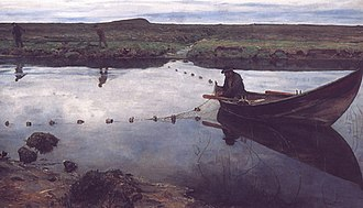 Fishing techniques - Oil painting of gillnetting, The salmon fisher by Eilif Peterssen