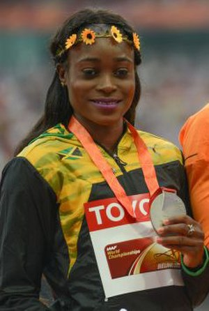 Elaine Thompson - Elaine Thompson celebrating her silver medal at the 2015 World Championships