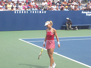 Elena Dementieva - Dementieva playing the first round of the 2006 US Open