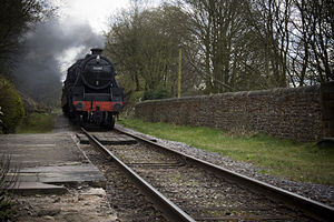 East Lancashire Railway (1844–1859) - LMS Stanier Class 5 4-6-0 45407 approaching Summerseat station on the heritage East Lancashire Railway