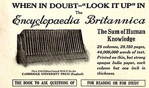 Encyclopædia Britannica Eleventh Edition - 1913 advertisement for the eleventh edition
