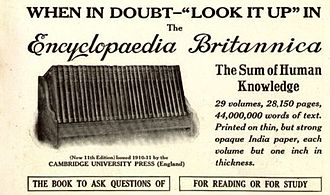 Encyclopædia Britannica - US advertisement for the 11th edition from the May 1913 issue of National Geographic Magazine