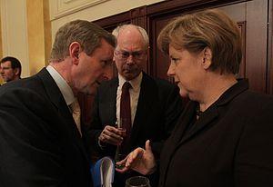 Enda Kenny%2C Herman Van Rompuy and Angela Merkel