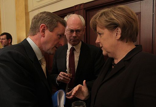 Enda Kenny, Herman Van Rompuy and Angela Merkel