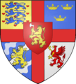 Inherited arms borne en surtout over territorial arms.