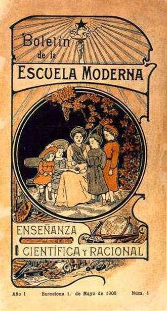 Escuela Moderna - The front page of the bulletin of the group published on December 31, 1905 in Barcelona.