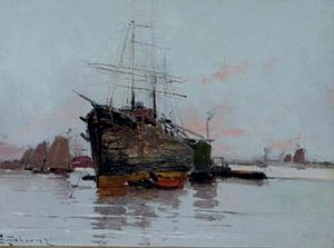 Eugène Galien-Laloue A ship in a harbour.jpg