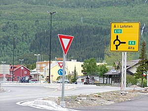 European route E10 - Roundabout junction of the E6 and E10 roads at Bjerkvik