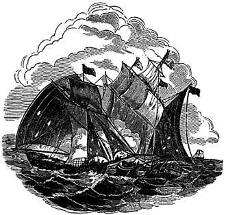 Henry Every - A woodcut from The Pirates Own Book showing the Fancy engaging the Gunsway