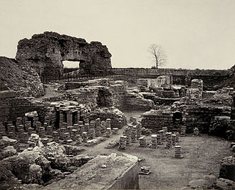 History of Shropshire - Roman ruins at Viroconium Cornoviorum, photographed during excavation by Francis Bedford and digitally restored.