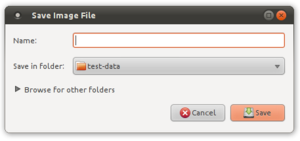 "File dialog - A ""save as"" file dialog from GTK+. The file browser is hidden inside a disclosure widget."