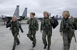 Four F-15 Eagle pilots from the 3rd Wing walk ...