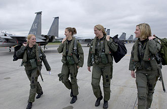 Women in the military - Four American F-15 Eagle pilots from the 3d Wing walk to their jets at Joint Base Elmendorf-Richardson.