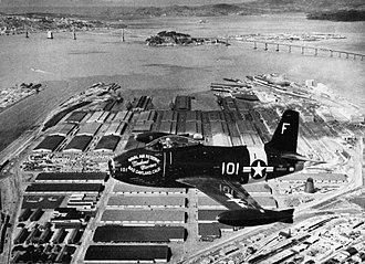 North American FJ-1 Fury - An Oakland Naval Air Reserve FJ-1 over Oakland, California, in 1950