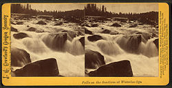 Historic stereoscope image of the Santiam River at Waterloo