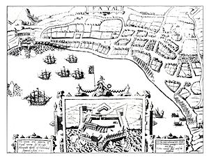 Azores Voyage of 1589 - Print of Cumberland' successful attack at Faial island in 1589