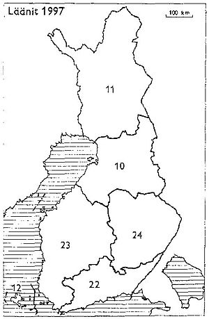 Lapland (former province of Finland) - Provinces of Finland 1997: 10: Oulu, 11: Lapland, 12: Åland, 22: Southern Finland, 23: Western Finland, 24: Eastern Finland