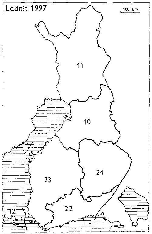 Finnish counties 1997