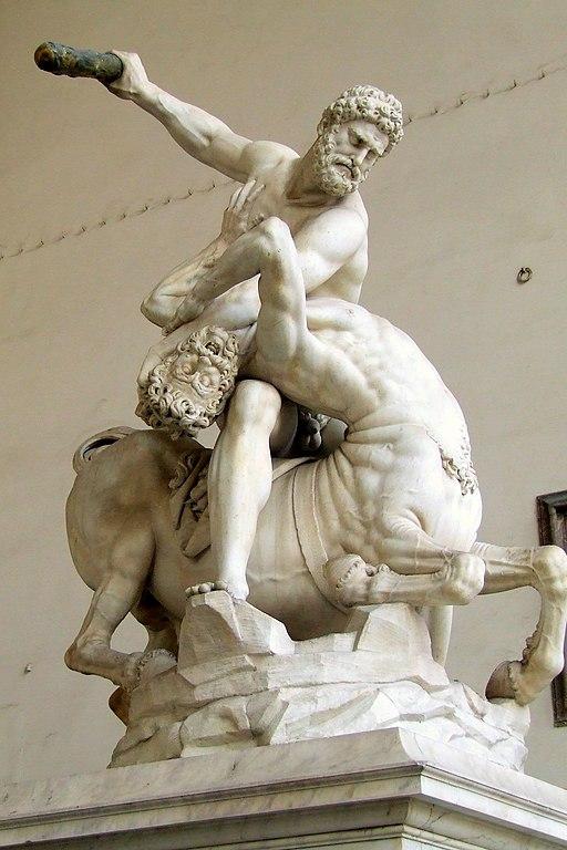 Giambologna, Hercules verslaat de centaur Nessus(1599), Loggia dei Lanzi, Piazza della Signoria, Firenze