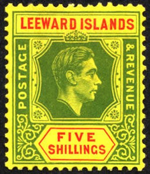 Postage stamps and postal history of the Leeward Islands - A five shilling stamp of the Leeward islands.
