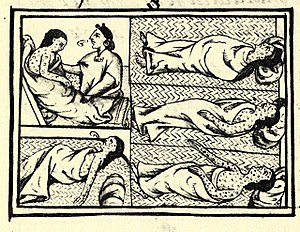 Pandemic - Aztecs dying of smallpox, Florentine Codex (compiled 1540–1585)