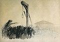 Forain J.L. - Charcoal, Ink, Wash - Foule et gibet devant l'Assemblée Nationale à Paris - 50x34cm.jpg
