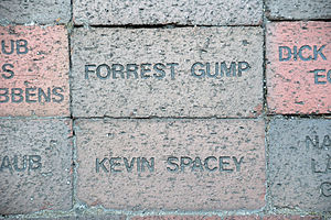 Forrest Gump (character) - Forrest Gump brick in front of the Lucas Theater in Savannah, Georgia, USA