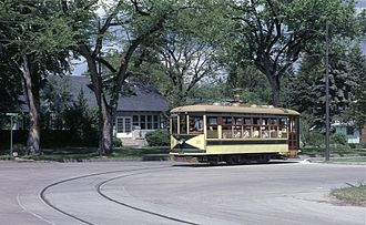 Fort Collins Municipal Railway - Fort Collins Birney car 21 on the 1984-opened heritage streetcar line.