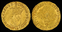 The écu was a gold and silver coinage system introduced in France in 1266 by Louis IX, so called because the coins featured the French coat of arms. The silver coin proved popular but the gold did not, because of the unrealistic ratio of 1:10 used, which did not properly reflect the metals' exchange rate. The écu remained in use for 500 years. Depicted here are two écu coins, the first made of gold and minted in 1641, in the reign of Louis XIII, and the second made of silver and minted in 1784, in the reign of Louis XVI. Between these two dates, exchange rates were unstable, new coins were issued, and existing ones revalued periodically.
