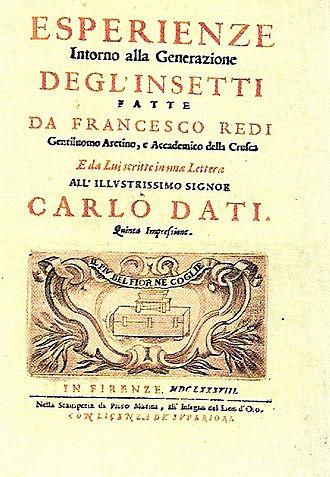 Francesco Redi -  Esperienze Intorno alla Generazione degl'Insetti frontcover