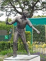 A statue of Fred Perry at the All England Lawn Tennis Club in Wimbledon.