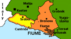 "Map of the ""Italian Regency of Carnaro"" (later the Free State of Fiume)."