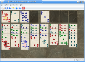 Part way through game of FreeCell on KDE.