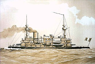French ironclad Hoche - Image: French battleship Hoche, Mitchell painting