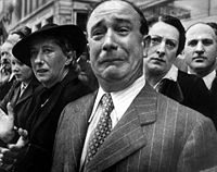 A Frenchman weeps as German soldiers march into the French capital, Paris, on June 14, 1940.
