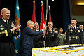 From left, Chief of Staff of the Army Gen. Raymond T. Odierno, Secretary of Defense Chuck Hagel, Secretary of the Army John McHugh and Sgt. Maj. of the Army Raymond F. Chandler III celebrate during a cake 130613-A-AO884-139.jpg