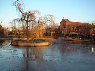 Feltham - Frozen pond on Feltham Green