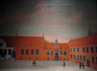 Frue Plads - Painting by Rach/Eegberg, 1749, showing Our Lady's Square with the Consistory Building and the Professor's House, now found to the rear of the university's main building