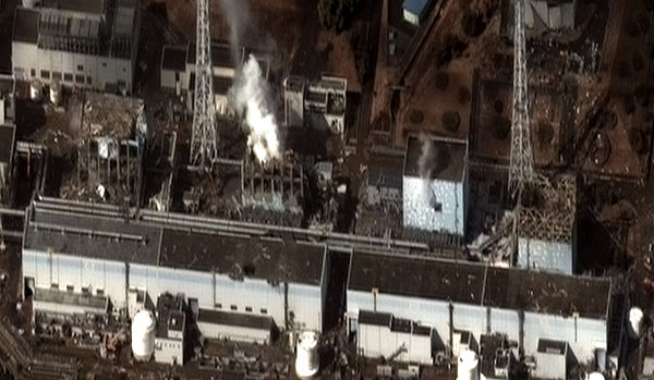 As of 2013, the Fukushima nuclear disaster site remains highly radioactive, with some 160,000 evacuees still living in temporary housing, and some land will be unfarmable for centuries. The difficult cleanup job will take 40 or more years, and cost tens of billions of dollars. Fukushima I by Digital Globe.jpg