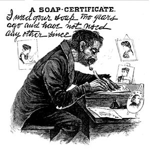 "Harry Furniss - ""I used your soap two years ago and have not used any other since"", a Punch cartoon drawn by Furniss, parodying Thomas J. Barratt's adverts for Pears soap"
